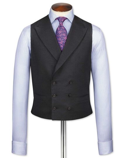 Charcoal British Panama luxury suit vest