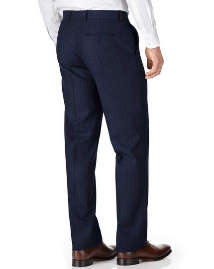 Navy classic fit saxony business suit trousers