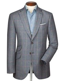 Slim fit blue Prince of Wales check luxury border tweed jacket