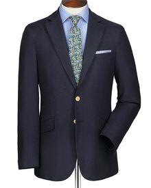 Navy slim fit herringbone linen cotton blazer