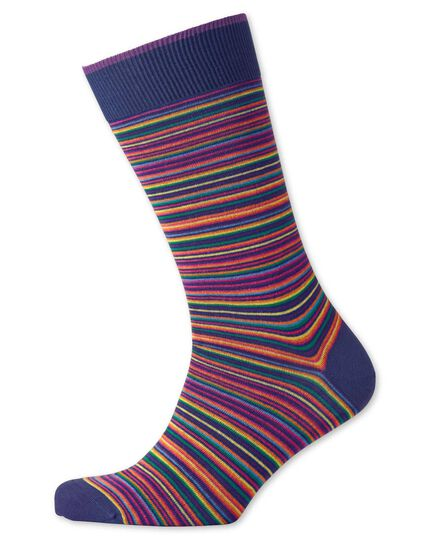 Navy multi stripe socks