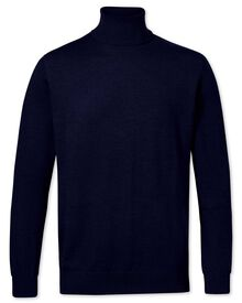 Navy roll neck merino wool sweater
