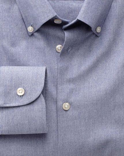 Extra Slim Fit Business-Casual Hemd mit Button-down Kragen in Blau