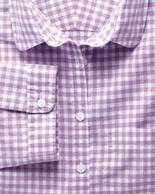 Women's semi-fitted cotton check lilac shirt