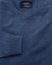 Indigo mouline cotton cashmere crew neck jumper