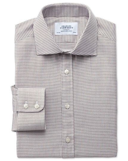Slim fit semi-spread collar melange puppytooth stone shirt