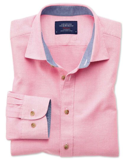 Slim fit pink washed textured shirt
