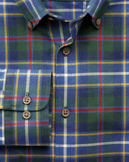 Slim fit blue and gold large multi check shirt