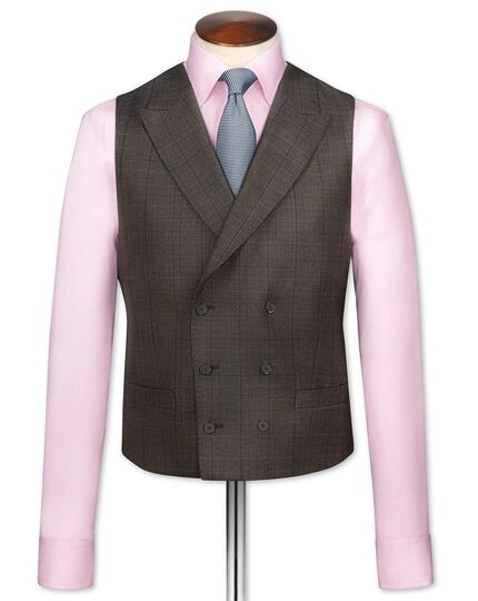 Brown check British Panama luxury suit waistcoat