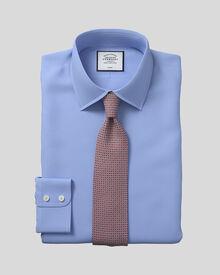 Bügelfreies Classic Fit Hemd aus Royal-Panama in blau