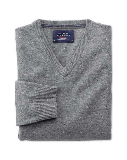 Silver grey Donegal v-neck jumper