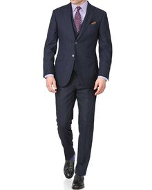 Navy check slim fit saxony business suit