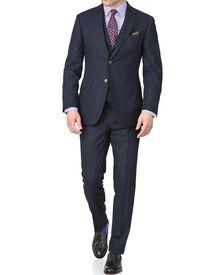 Navy check slim fit saxony business suit