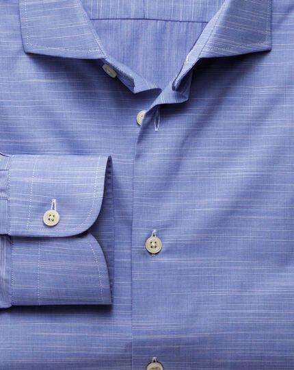 Slim fit semi-spread collar business casual slub cotton blue shirt