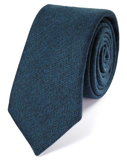 Teal wool flannel luxury tie