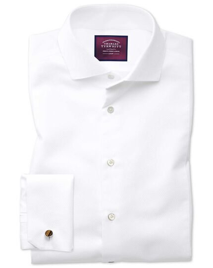 Extra slim fit cutaway non-iron luxury white shirt