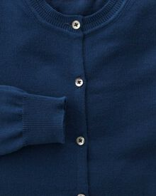 Women's navy cotton cashmere cardigan