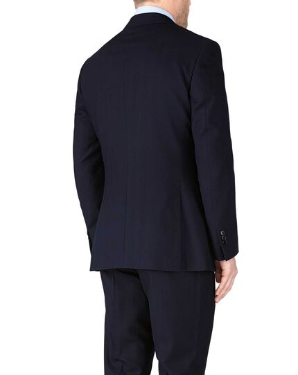 Navy classic fit herringbone business suit jacket