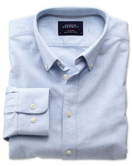 Slim fit modern Oxford sky blue fleck shirt