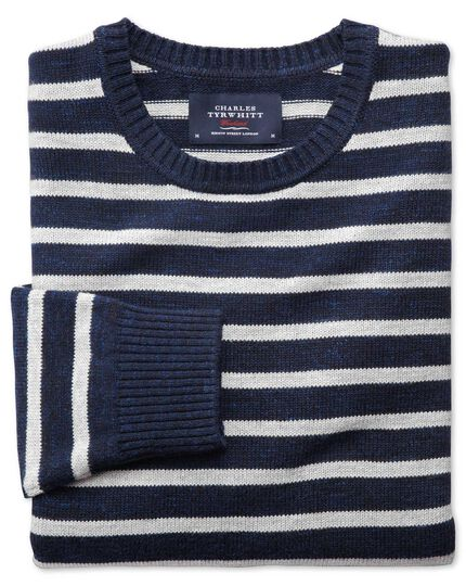 Navy and grey blue heather crew neck sweater