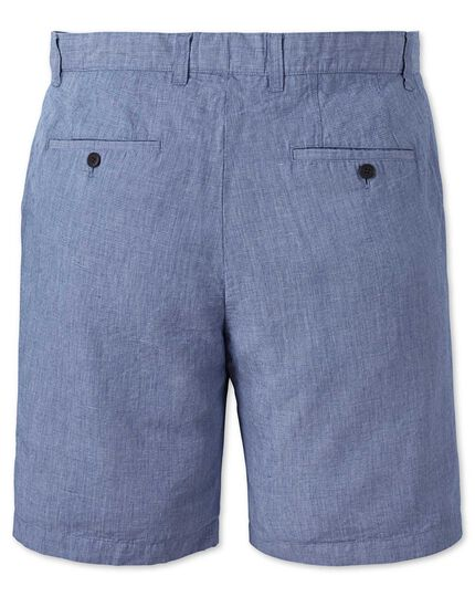 Blue flat front cotton linen shorts