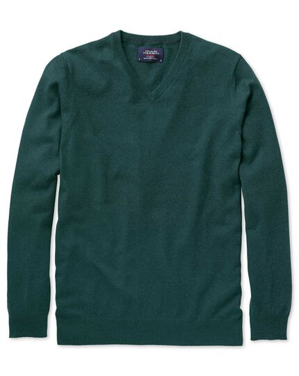 Mid green cotton cashmere v-neck sweater