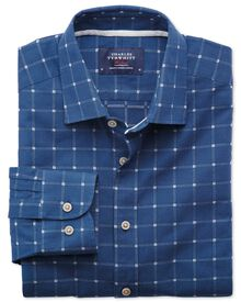 Slim fit dobby blue and white check textured shirt