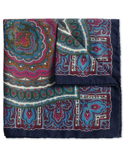 Navy wool paisley Italian luxury pocket square