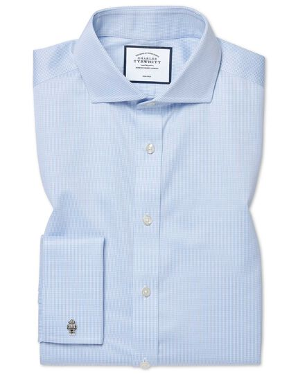 Extra slim fit cutaway collar non-iron puppytooth sky blue shirt