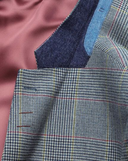 Classic Fit luxuriöses Border-Tweed-Sakko in Blau mit Prince-of-Wales Karos