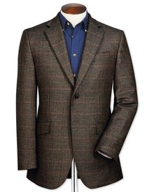 Veste marron en laine d'agneau slim fit avec carreaux