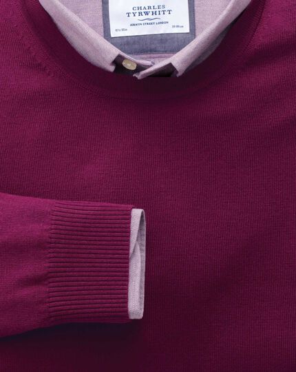 Berry merino wool crew neck sweater