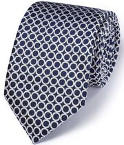 Navy & white silk English luxury end-on-end tie