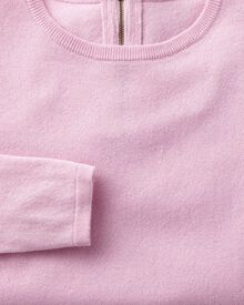 Light pink merino cashmere zip back jumper