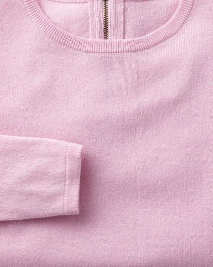 Light pink merino cashmere zip back sweater