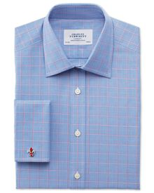 Classic fit Egyptian cotton Prince of Wales pink and blue shirt