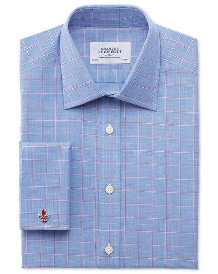 Classic fit Prince of Wales check pink satin shirt