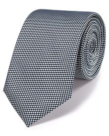 Navy and white silk classic gingham check tie