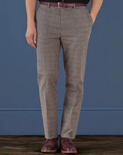 Brown slim fit cotton flannel Prince of Wales check pants