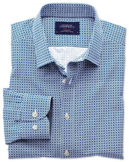 Classic fit royal and white geometric print shirt