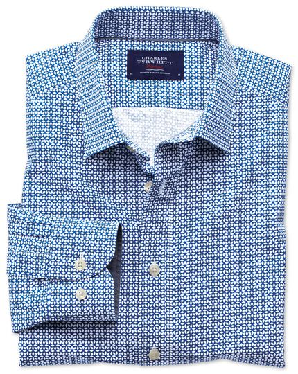 Slim fit royal and white geometric print shirt