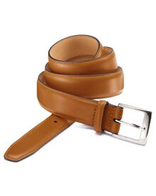 Tan leather formal belt