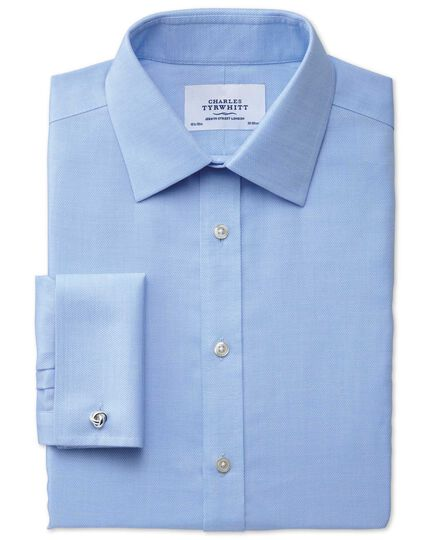 Extra slim fit non-iron micro spot sky blue shirt