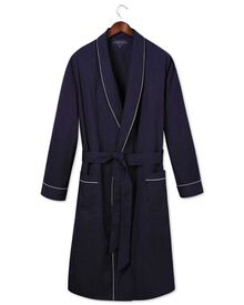 Navy dot cotton robe