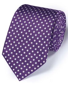 Purple silk classic Oxford spot tie