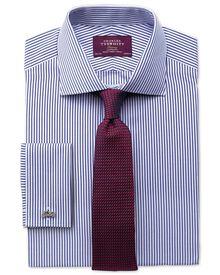 Slim fit semi-spread collar luxury poplin stripe blue shirt