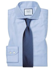 Slim fit cutaway collar non-iron herringbone sky blue shirt