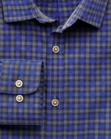 Classic fit blue and grey gingham heather shirt
