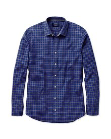 Slim fit blue and grey gingham heather shirt