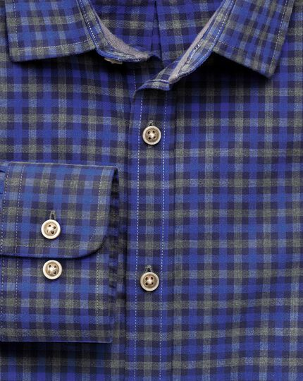 Extra slim fit blue and grey gingham heather shirt